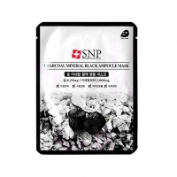 SNP CHARCOAL MINERAL BLACK AMPOULE MASK, маска тканевая для лица с углём