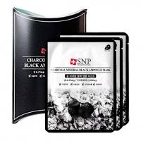 SNP CHARCOAL MINERAL BLACK AMPOULE MASK - 10 штук, маска тканевая для лица с углём