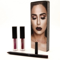 HUDA BEAUTY LIP CONTOUR SET (VIXEN), карандаш + 2 блеска для губ
